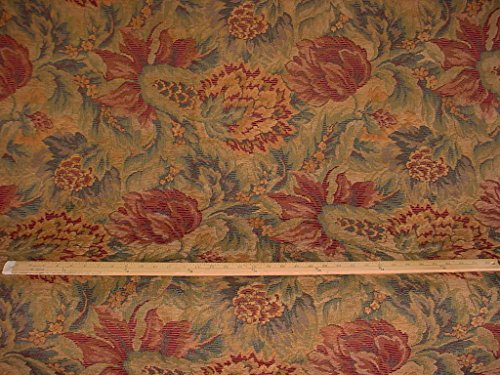 16RT17 - Burgundy / Hunter Green / Grey Gray / Light Brown Floral Leaf Forest Chenille Tapestry Designer Couch Throw Upholstery Drapery Fabric - By the Yard (Kravet Floral Tapestry Upholstery Fabric)