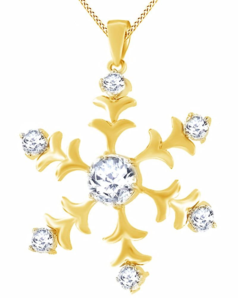 Wishrocks 14K Gold Over Sterling Silver Cubic Zirconia Snowflake Pendant Necklace