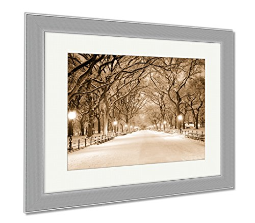 Ashley Framed Prints Central Park Ny Covered In Snow At Dawn, Contemporary Decoration, Sepia, 26x30 (frame size), Silver Frame, - Promenade Mall Shops