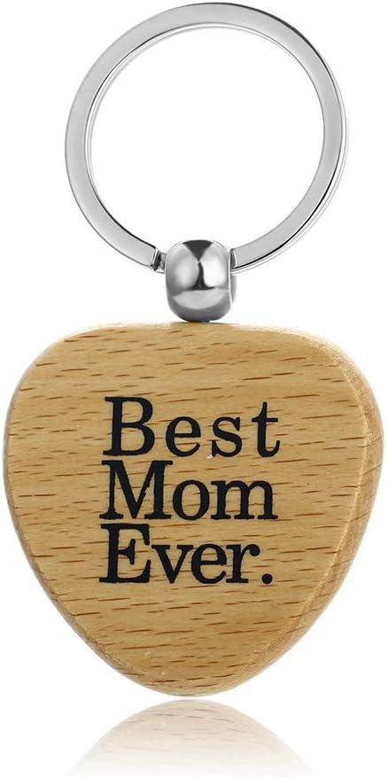 Best Mom Ever JUNGEN Llavero de Madera Forma Coraz/ón para Decoraci/ón de Llaves Coche Bolsa Regalo de Cumplea/ños Navidad