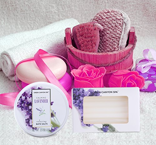 Mothers Day Gift Baskets – Green Canyon Spa Luxury Wicker Basket Gift Set in Lavender, 8 Pieces Premium Bath and Body…