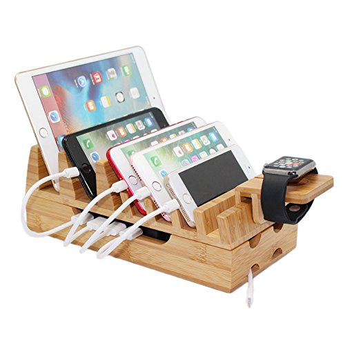 Bamboo Charging Stations & Docking Organizer Stand for Multiple Devices
