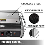 Happybuy 110V Commercial Sandwich Press Grill 3600W Electric Panini Maker Non-Stick 122°F-572°F Temp Control Double Flat Plates for Hamburgers Steaks, 22″ x12″, Silver+Black