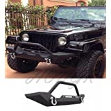 HongK- 87-06 Jeep Wrangler TJ YJ Rock Crawler Guard Front Bumper Winch D-Ring Textured