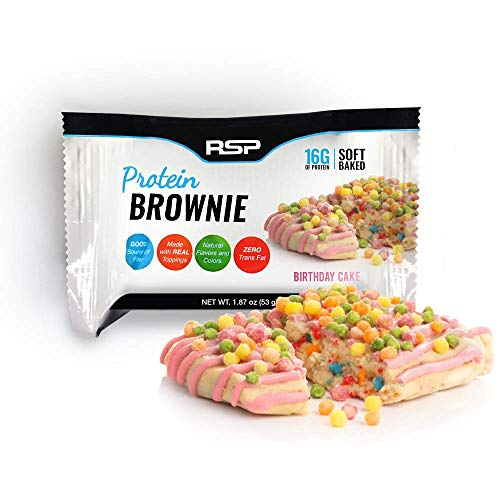 RSP Protein Brownie (12 pk) - 16g of Whey Protein & Gluten Free, Delicious On-The-Go Healthy Snack - Soft Baked Brownie & High Protein Snack, Birthday -