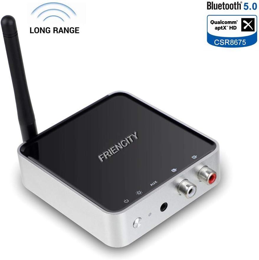 Friencity - Receptor transmisor Bluetooth V5.0 de largo alcance con aptX HD y baja latencia y rápido enlace dual, adaptador de audio inalámbrico Bluetooth con RCA óptico digital 3,5 mm AUX