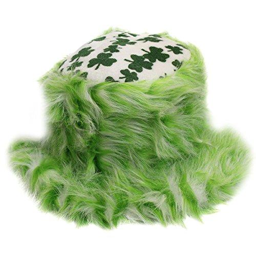 Luck Costume Hat Lady (Shamrock Furry Bucket Hat - St. Patricks Day Irish Shamrock Furry Bucket)