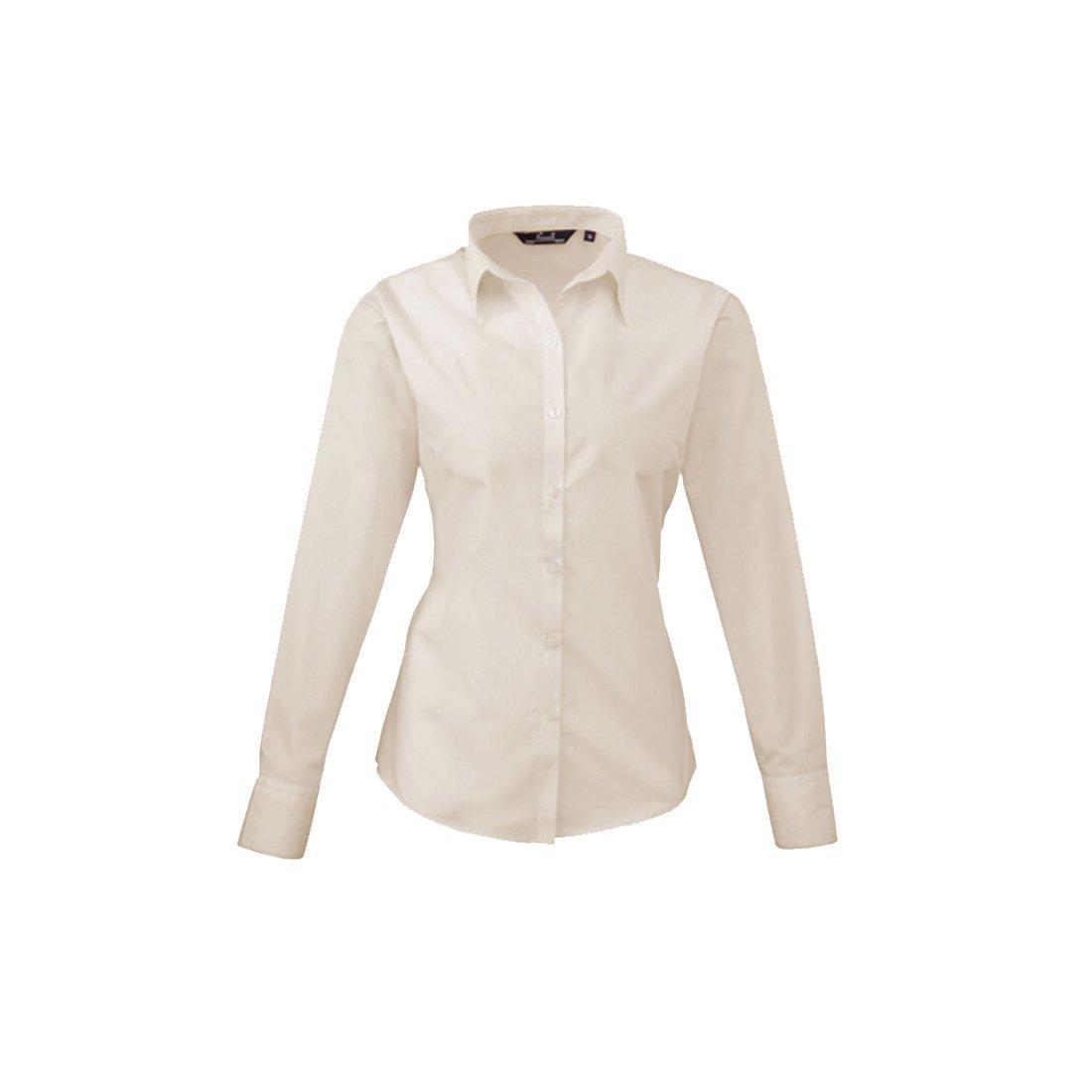 Premier donna popeline manica lunga da donna//camicia da lavoro tinta unita