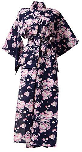 Kimura Jitsugyo Women's Kyoto Traditional Easy Wearing Kawaii Yukata Robe(Japanese Casual Kimono) Navy & Cherry Blossoms Set 2 Large Woman ()