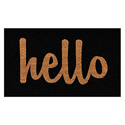 Home & More Hello Script Black Outdoor Doormat