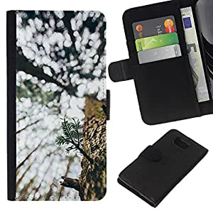 KLONGSHOP // Tirón de la caja Cartera de cuero con ranuras para tarjetas - Árbol del Verano Corteza natural de maderas de Wilderness - Samsung ALPHA G850 //