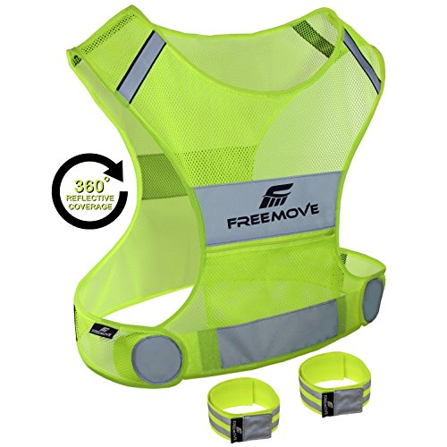 Visibility Vest - Reflective Vest for Running Cycling Dog Walking | High Visibility & Comfortable | Reflective Running Gear Vest | Motorcycle Reflective Safety Vest with Pockets | Bike Reflector Vest | 2x Armband & Bag