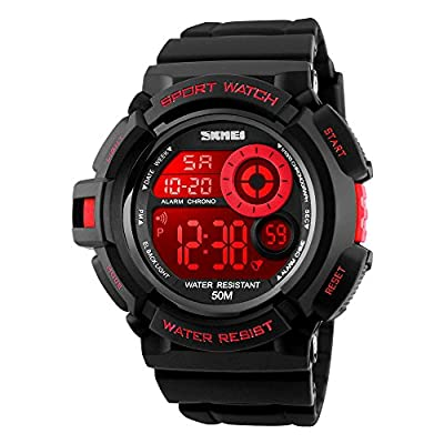 Boys Digital Sport Watch With Seven Colors EL Light Alarm Stopwatch Waterproof - Red