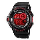 Boys Digital Sport Watch With Seven Colors EL Light Alarm Stopwatch Waterproof - Red