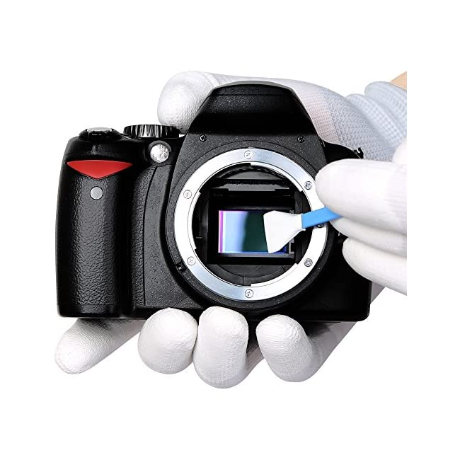 VSGO DKL-6 Camera Cleaning Kit Essential Package for DSLR and Sensitive Electronics: APS-C Sensor and Cotton Swab  Lens Pen/Brush  Wet Wipes  Lens Cleaning paper  Microfiber Cloth  Air Blower  Blue