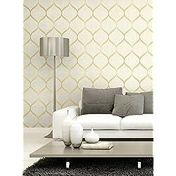 Ogee Wallpaper. (Beige & Gold)