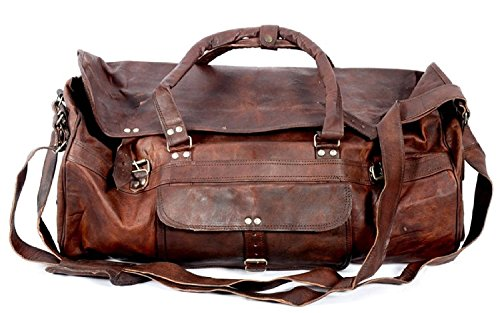 QualityArt 28 Large Leather HUGE Travel Bag Large Duffel bag Gym sports flight cabin bag Leather Holdall Overnight Weekend Duffel Large duffel bag Lo…