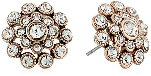 (Badgley Mischka Crystal Pave Flower Stud Earrings )