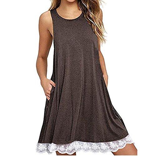 Summer Dress Women Casual Loose Lace Dress Sleeveless Party Mini Dress Plus Size T-shirt Dress (S, Green) Coffee