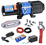 BIZ Tow Recovery Winch 4000lbs Capacity Electric Winch Synthetic Rope Winch for ATV/UTV/Small SUV or Buggy,4000D-1S