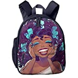 Black Africa American Girl Double Zipper Waterproof Children Schoolbag With Front Pockets For Kids Boys Girl