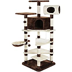 SONGMICS Multi-Level Cat Tree Furniture Condo Tower Large Kitty Play House with Sisal Scratching Posts Brown and Beige UPCT17Z