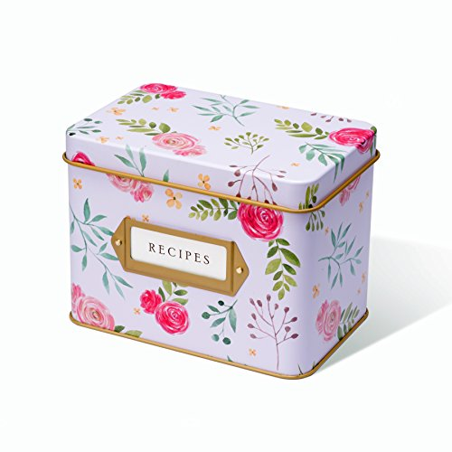 (Jot & Mark Recipe Card Complete Gift Box | Decorative Tin Box, Recipe Cards, Index Dividers (14 dividers, 50 4x6 inch Cards, 1 Box))