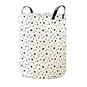 Didihou Laundry Basket Cotton & Linen Waterproof Collapsible Cute Stars Print Laundry Hamper Toy Storage Bin for Bedroom Nursery Dorm or Closet 13.5 x17.5