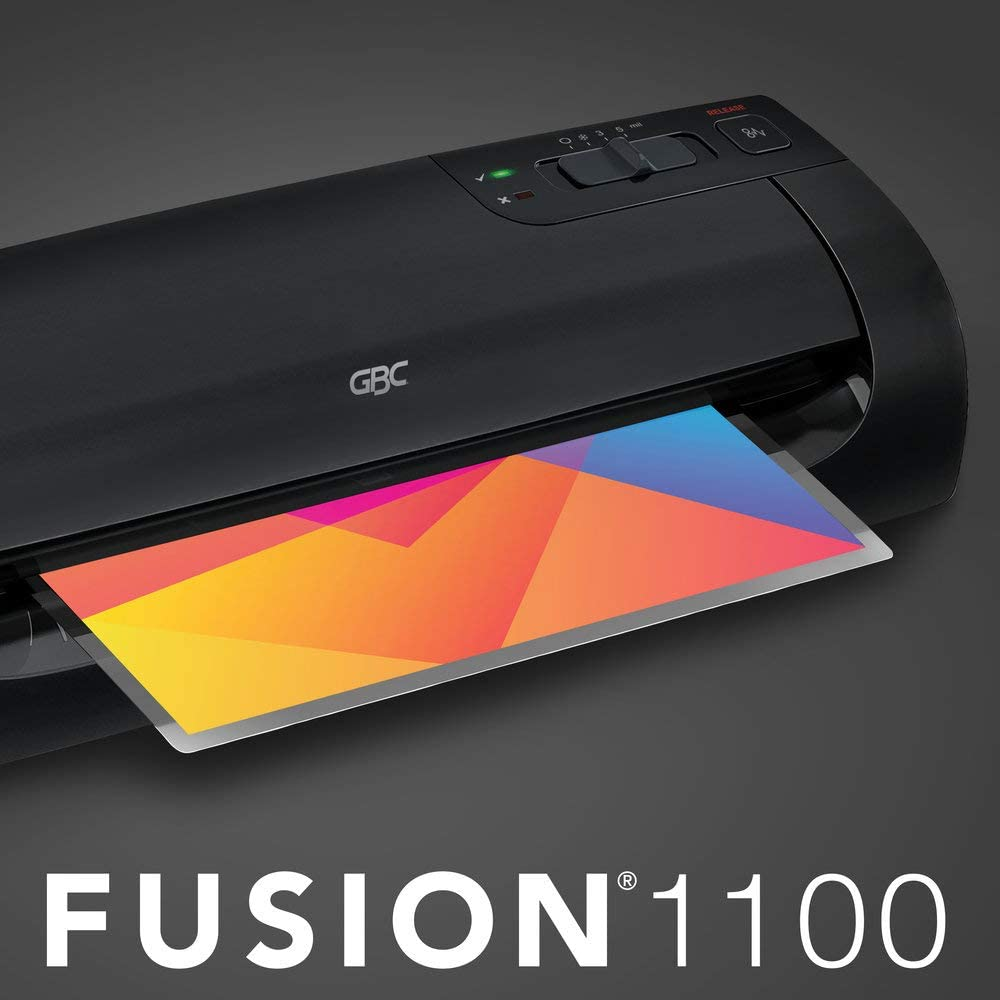 GBC Thermal Laminator Machine, Fusion 1100L, 9 Inch, 4 Min Warm-up, 3 or 5 Mil, with 10 EZUse Laminating Pouches (3381650026)