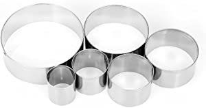XYBAGS 6PCS Large Round Cookie Cutter Set, 2 1/5 Inch to 5 3/8 Inch, Metal Circle Biscuit Pastry Cutters
