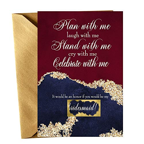 Elegant Be My Bridesmaid Scratch Off Cards with Gold Envelopes Wedding Gift Ideas Set of 2 Maid of Honor + 1 Matron of Honor + 5 Bridesmaid Proposal Invites
