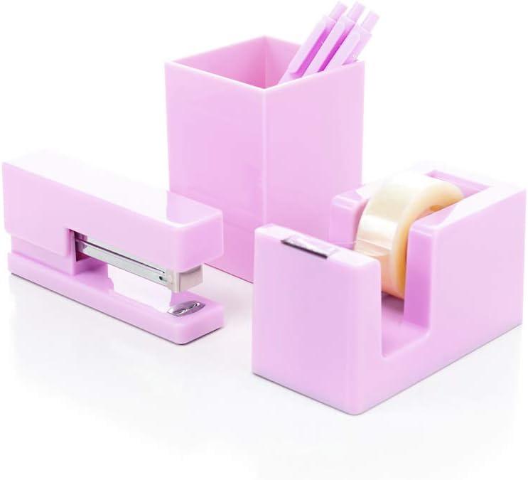 Heavy Duty Modern and Trendy 3-Piece Desktop Organizer Set Stapler Tape Dispenser and Pen Cup (Pink-3Pc)