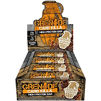 Grenade Carb Killa Protein Bar, Great Tasting High Protein Snack, Caramel Chaos, (Pack of 12), 2.12 oz. bar