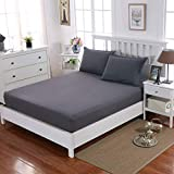 Mohap 16' (40cm) Extra Deep King Size Fitted Sheet Brushed Microfiber Breathable Wrinkle Resistance (Grey)