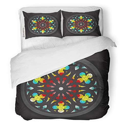 Semtomn Decor Duvet Cover Set Full/Queen Size Colorful Catholic Stained Glass Window Ancient Angel Beautiful Cathedral 3 Piece Brushed Microfiber Fabric Print Bedding Set Cover]()