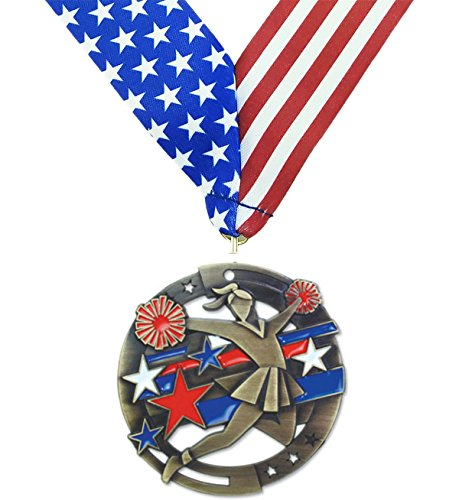Gold Cheerleading M3XL Premium Die Cast Color Medal - 2.75 Inches Wide - Includes Decade Awards Exclusive Red, White & Blue Stars and Stripes V-neck Ribbon - Neckband