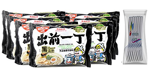 Nissin Ramen Noodles Soup Nissin Demae Black Garlic Oil Instant Ramen Noodles 7 Packs Free Fork (Black Garlic Oil)
