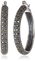 Sterling Silver 30mm Marcasite Hoop Earrings by Media Imports Inc
