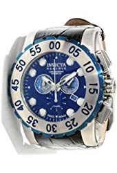 Invicta 11023 Mens Reserve Chronograph Stainless Steel Case Leather Strap Blue Tone DIal Watch