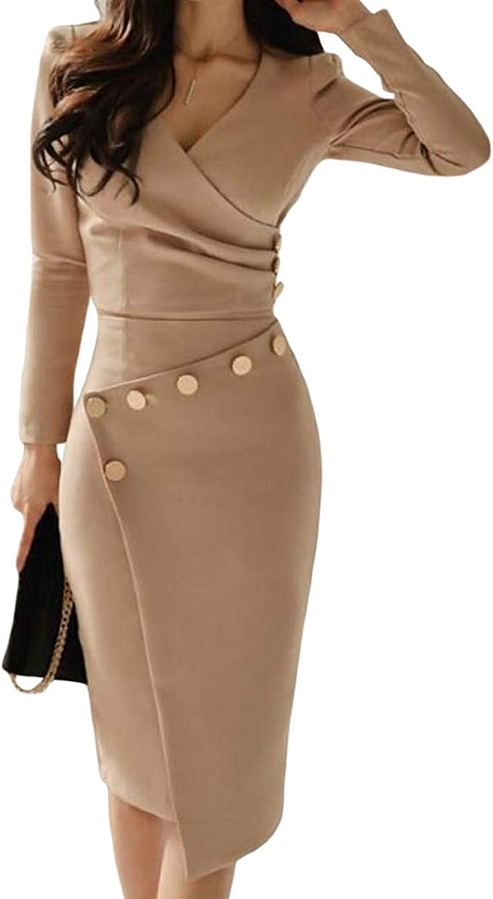 Lrady Women's Deep V Neck Casual Work Bodycon Cocktail Party Pencil Midi Dress