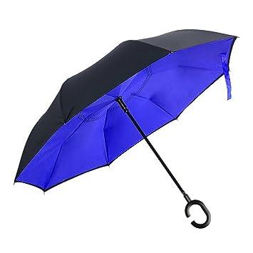 Paraguas plegable resistente al viento, con plegado inverso, 2capas, mango con