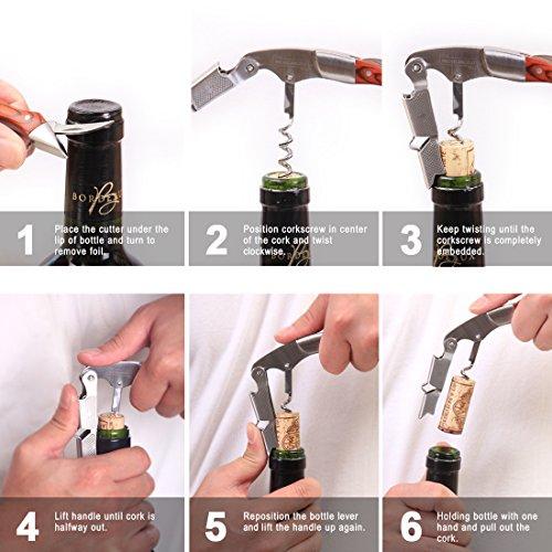 MICHELANGELO Professional Waiters Corkscrew With Rosewood Handle & Bonus Leather Case, Wine Keys, 3-in-1 Double Hinged Corkscrew Wine Bottle Opener With Foil Cutter & Beer Bottle Opener by MICHELANGELO (Image #2)
