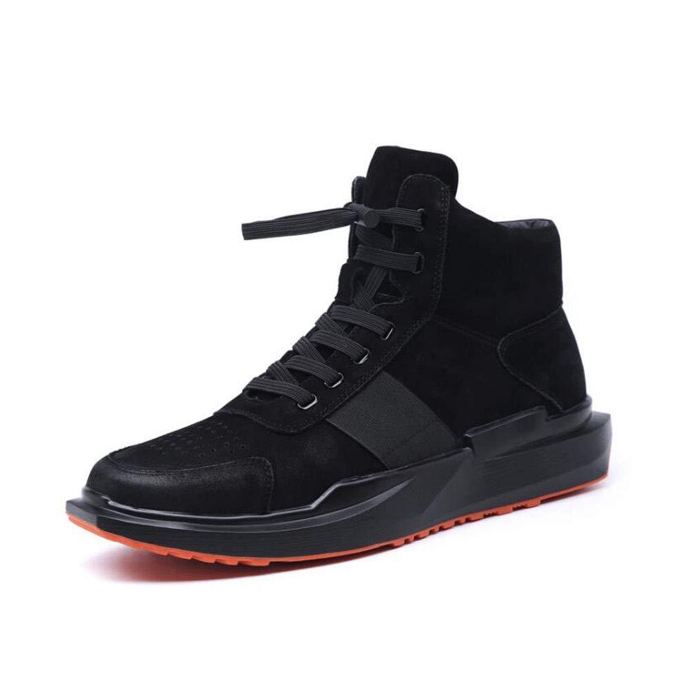YAXUAN Laufschuhe Herrenschuhe 2019 Herbst und Winter Herren Freizeitschuhe Koreanische Sportlederschuhe Wilde Schuhe Männer Flut Schuhe (Farbe   Schwarz Größe   38)