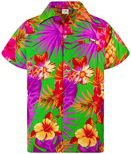 King Kameha Funky Hawaiian Shirt, Shortsleeve, Pineapple, Green, S (Best Party T Shirts)