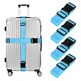 ONSON Luggage Straps, 4 Pack Heavy Duty Non-Slip Adjustable Travel Accessories Suitcase Baggage Belts Bag Bungee (4Pack & Blue)