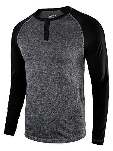 (DAIKEN Men's Fashion Casual Long Sleeve T-Shirt Vintage Raglan Button Up Henley Baseball Shirts for Men)