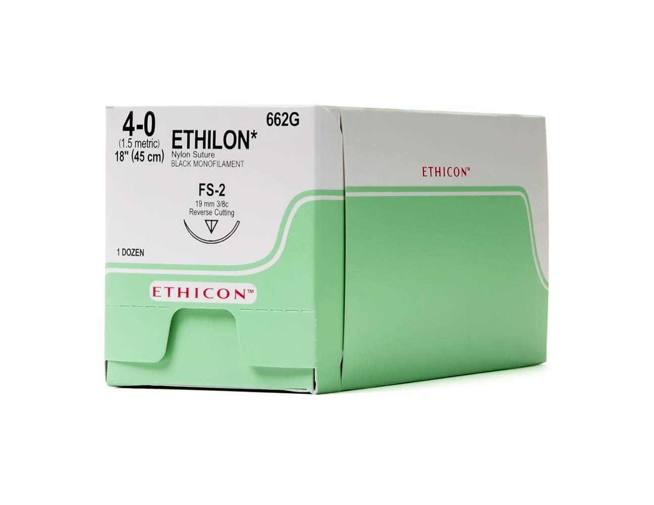 Ethicon ETHILON Nylon Suture, 662G, Synthetic Non-absorbable, FS-2 (19 mm), 3/8 Circle Needle, Size 4-0, 18'' (45 cm)