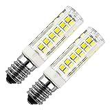 E14 LED Bulb 7Watt Equivalent 50W Daylight White 6000K Cooker Hood 500Lumens AC220-240V Non Dimmable Small Edison Screw 75PCS 2835SMD (Pack of 2)
