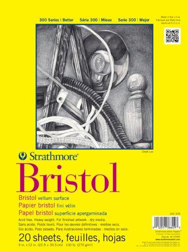 Vellum 12x12 Paper - Strathmore 342-109 300 Series Bristol Vellum Pad, 9