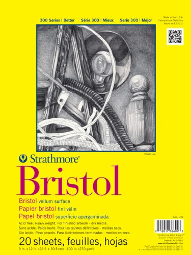 Strathmore (342-109) STR-342-109 20 Sheet Regular Bristol Pad, 9 by 12